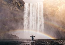 waterfall and rainbow